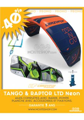 PROMOTION PACK KITESURF 2019 CRAZYFLY TANGO+ RAPTOR LTD NEON
