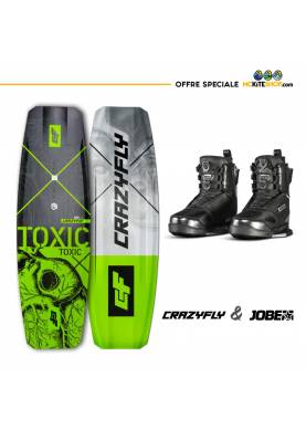 Pack Wakeboard pour Cablepark Crazyfly Toxic + boots Jobe Nitro