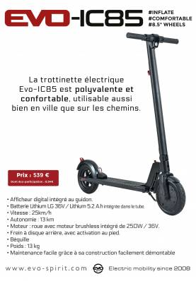 Trottinette électrique Evo Spirit IC85 - Evo spirit